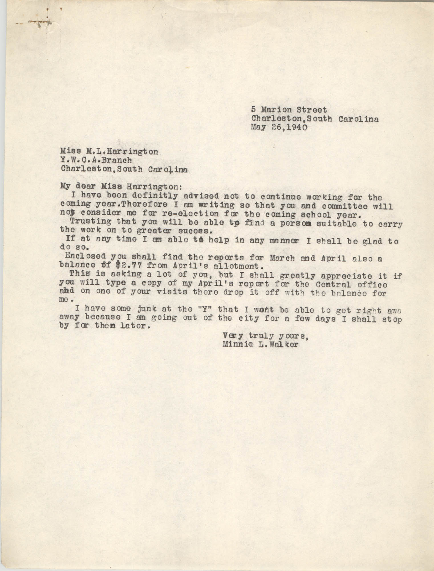 Letter from Minnie L. Walker to M. L. Harrington, May 26, 1940