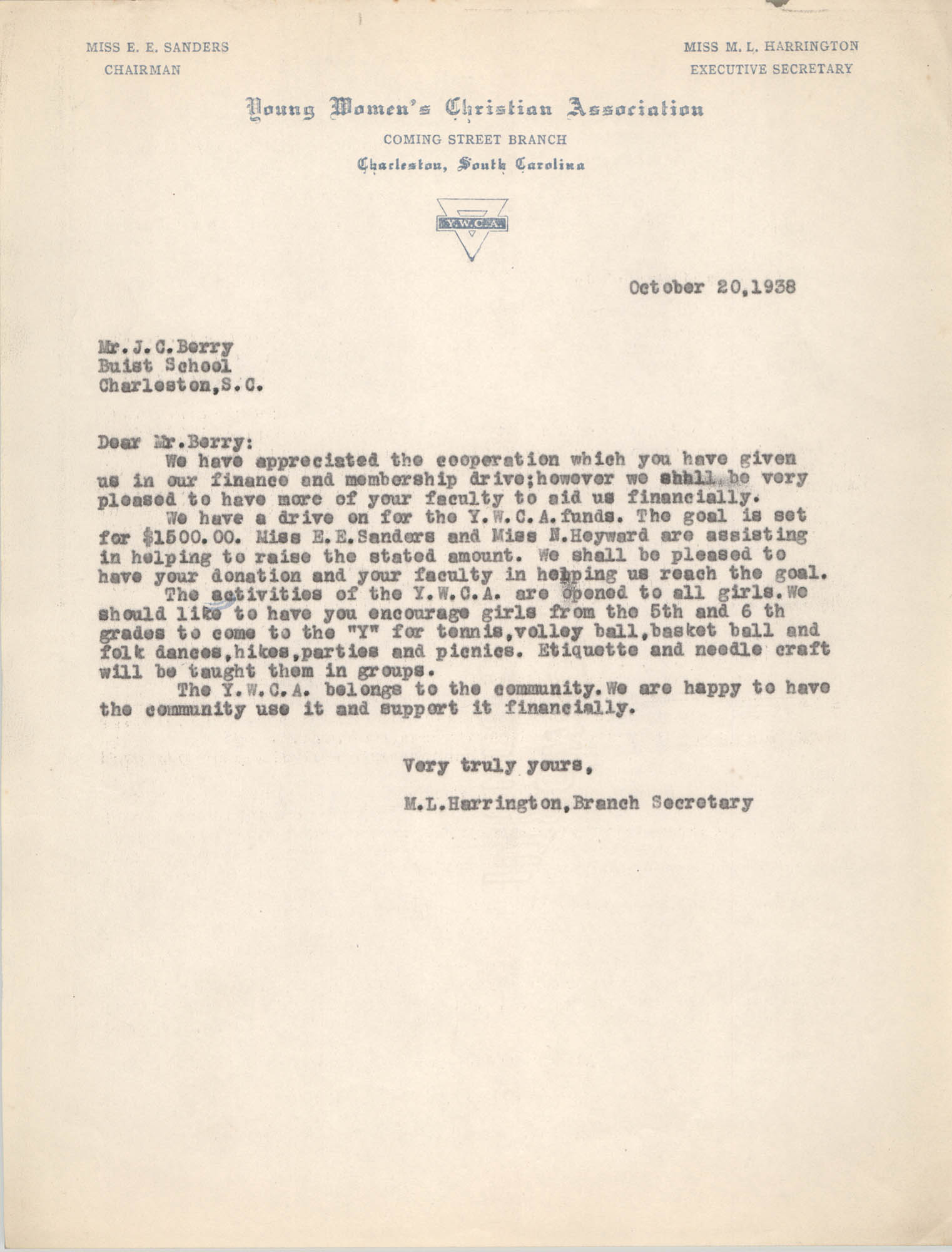 Letter from M. L. Harrington to J. C. Berry, October 20, 1938