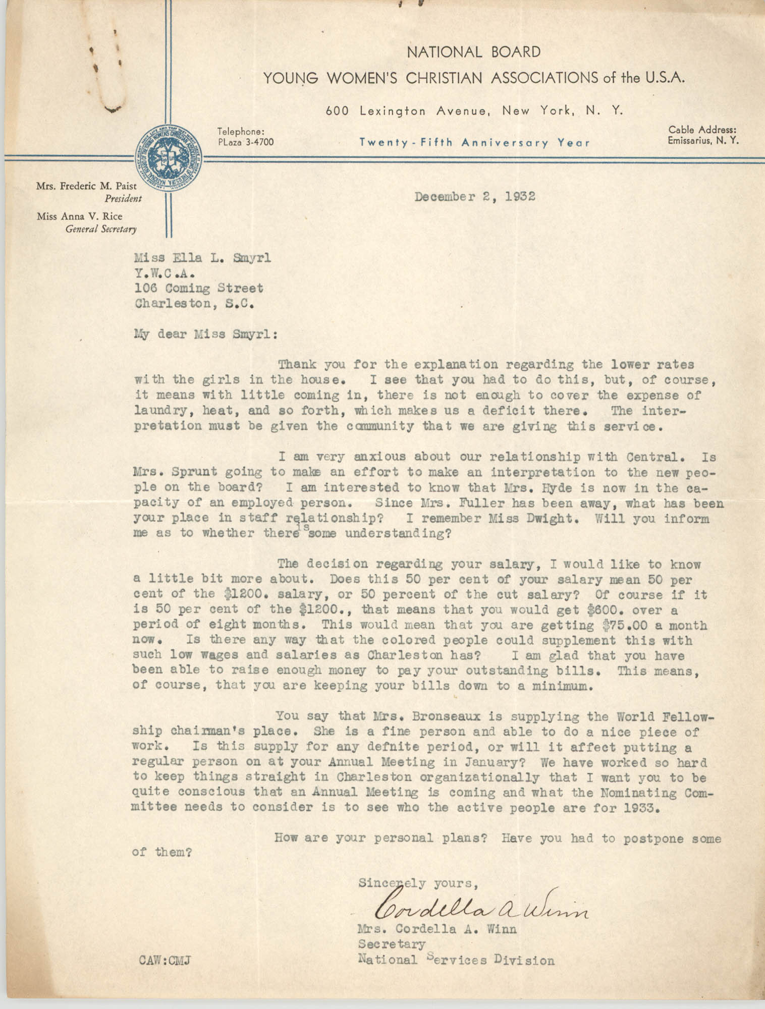 Letter from Cordella A. Winn to Ella L. Smyrl, December 2, 1932