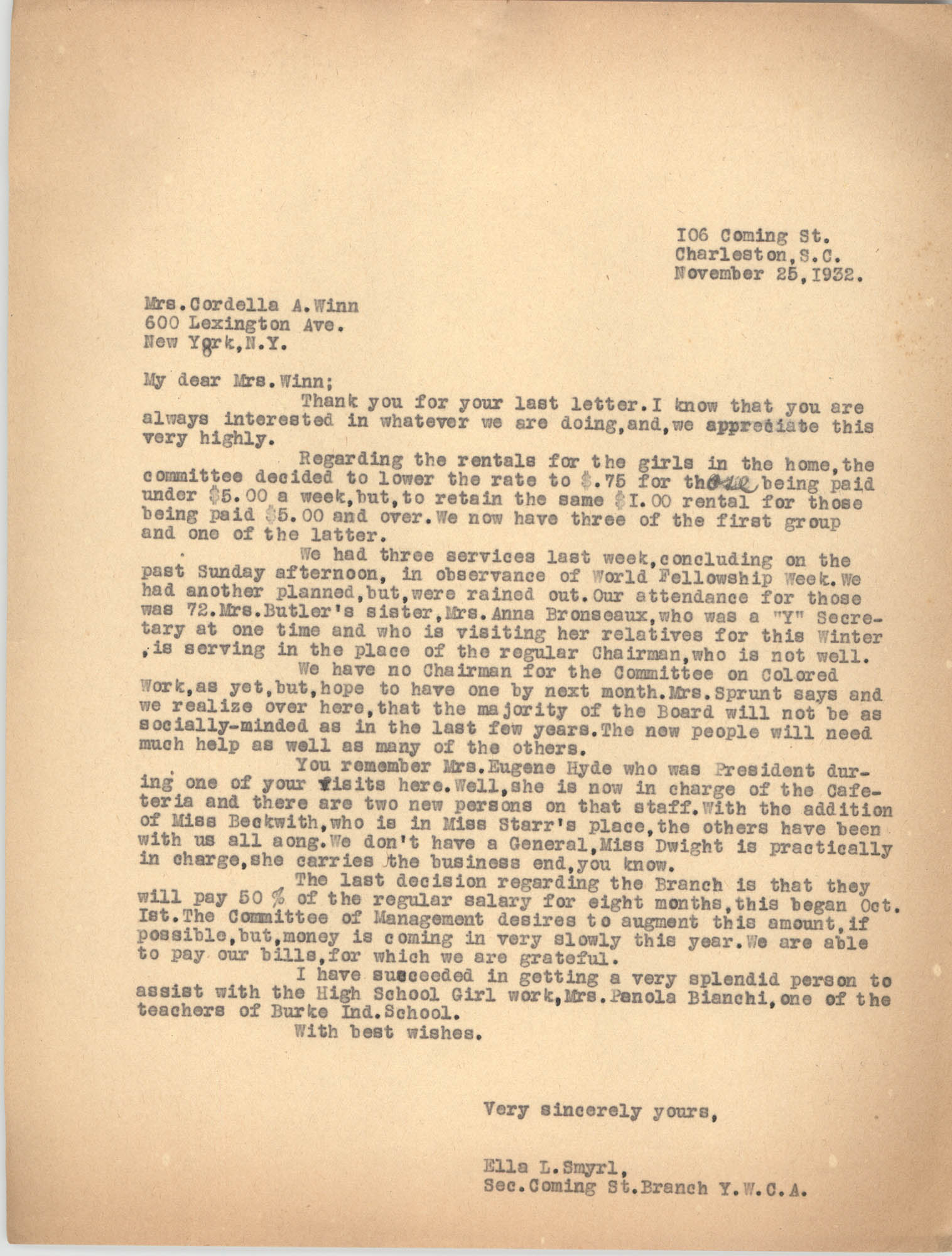 Letter from Ella L. Smyrl to Cordella A. Winn, November 25, 1932