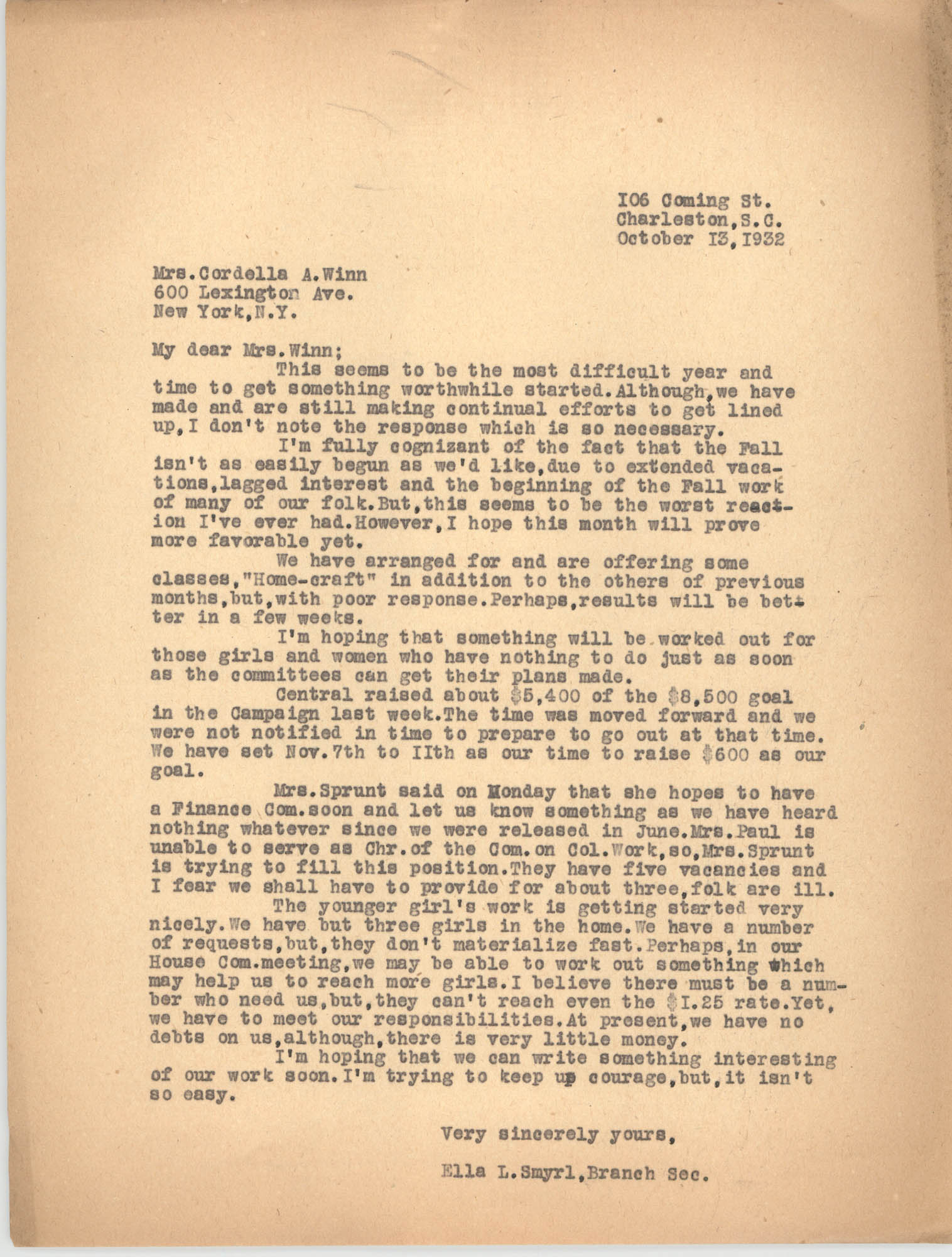 Letter from Ella L. Smyrl to Cordella A. Winn, October 13, 1932