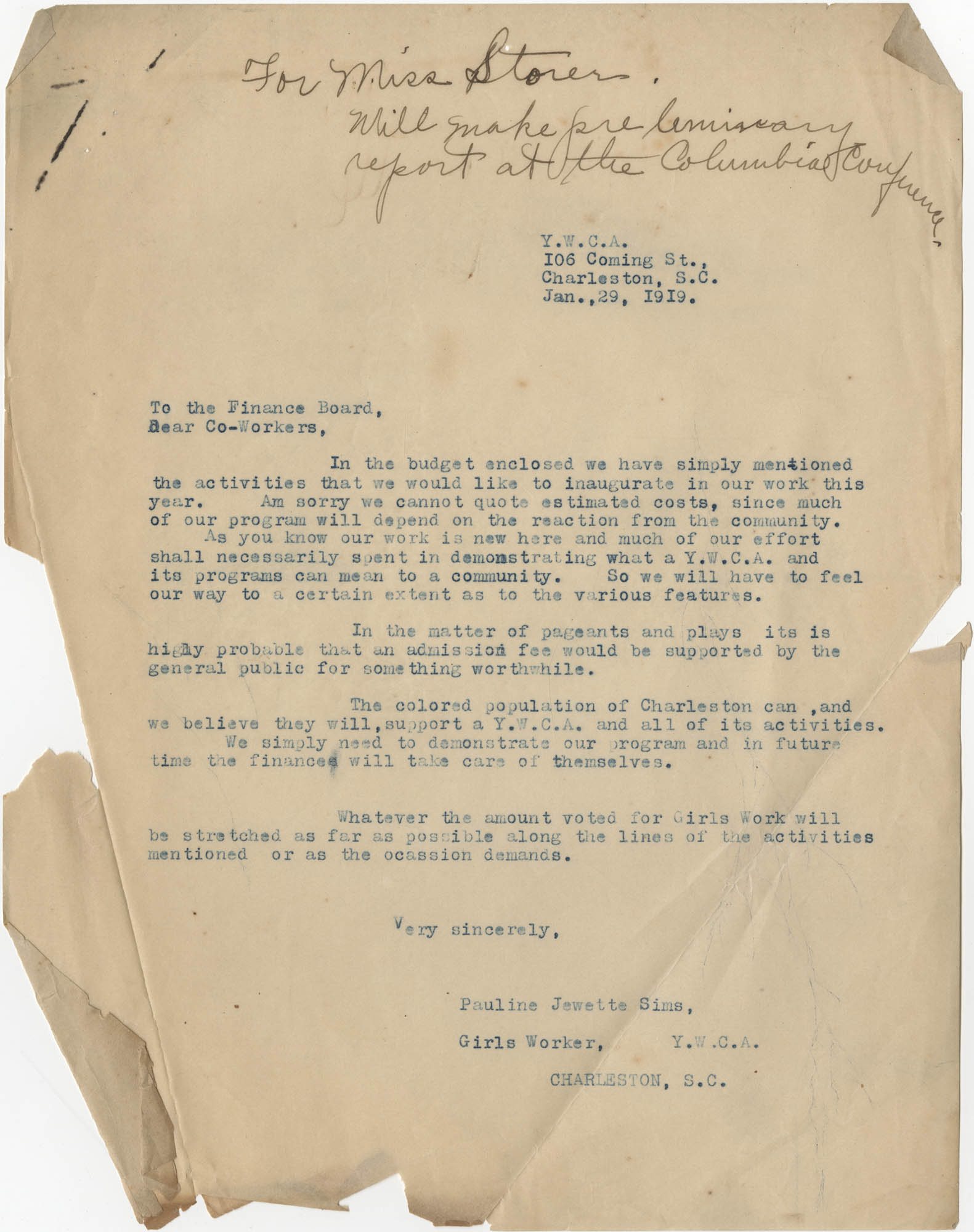 Letter from Pauline Jewette Sims to Finance Board and Co-Workers for the Y.W.C.A., January 29, 1919
