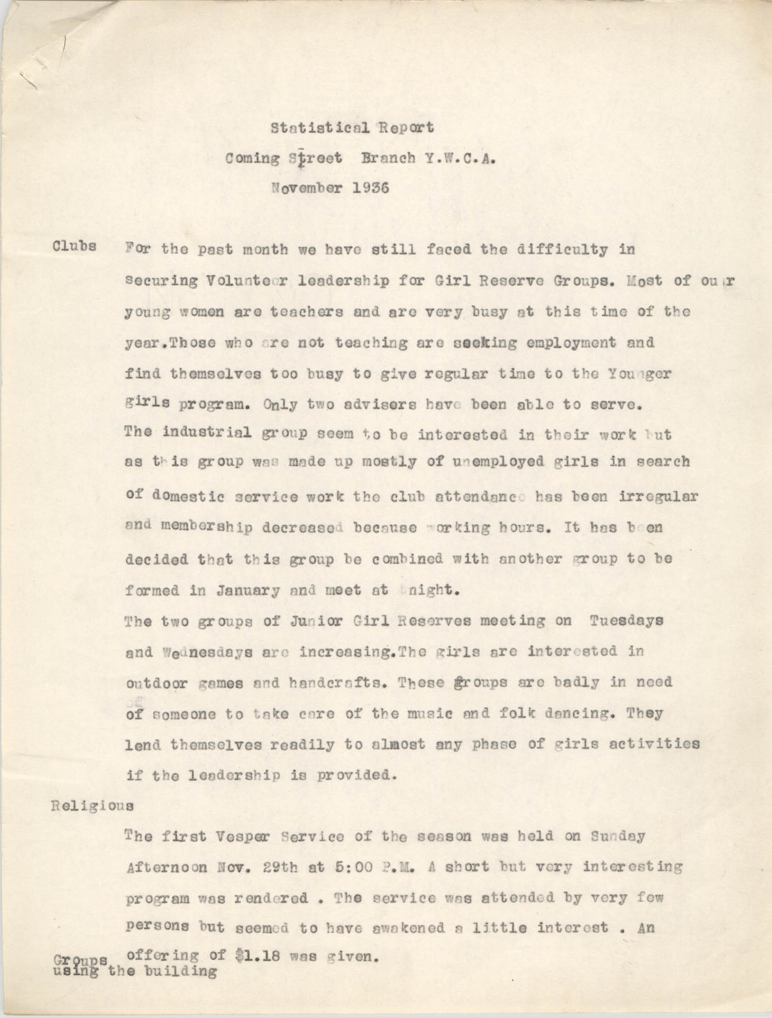 Monthly Report for the Coming Street Y.W.C.A., November 1936
