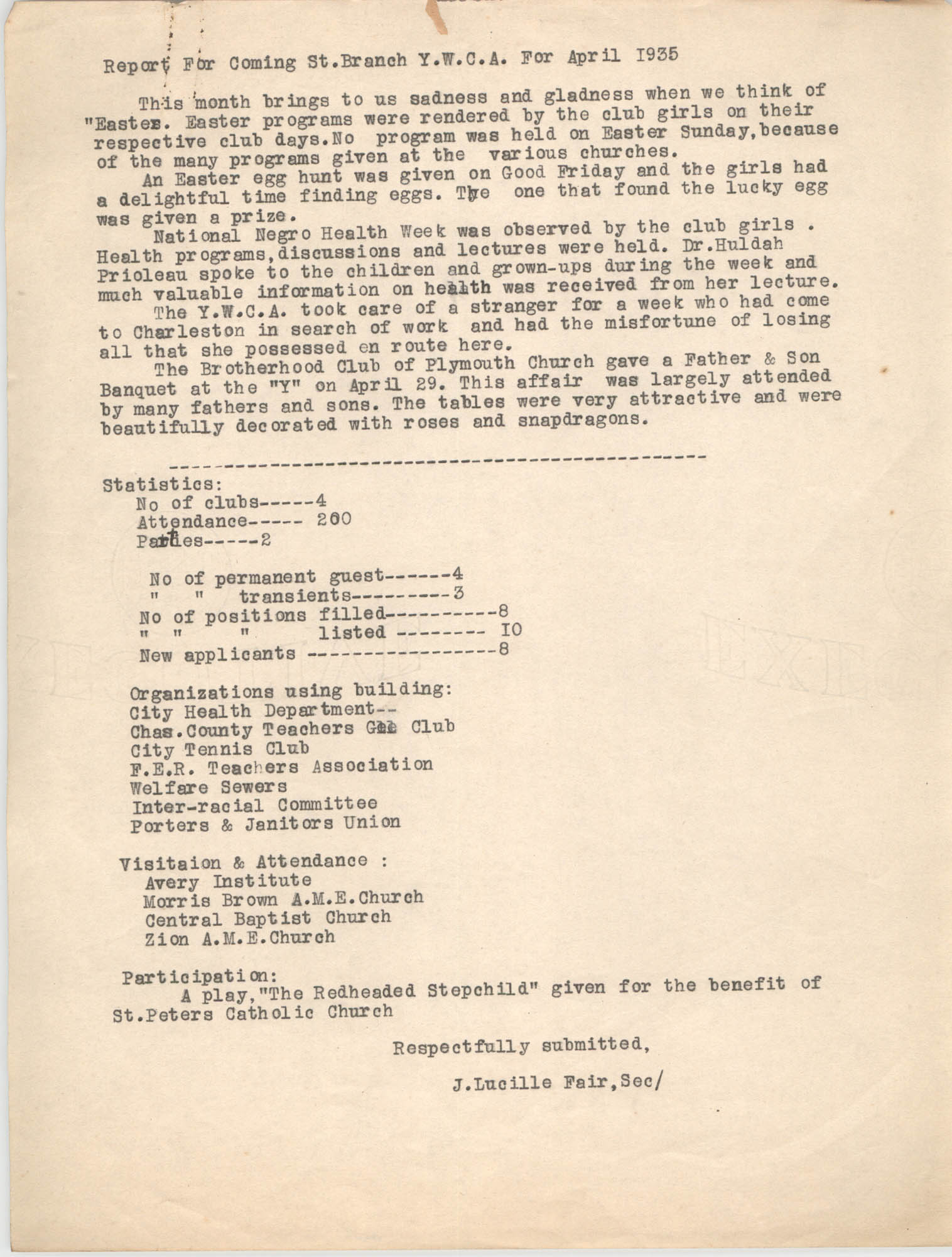 Monthly Report for the Coming Street Y.W.C.A., April 1935
