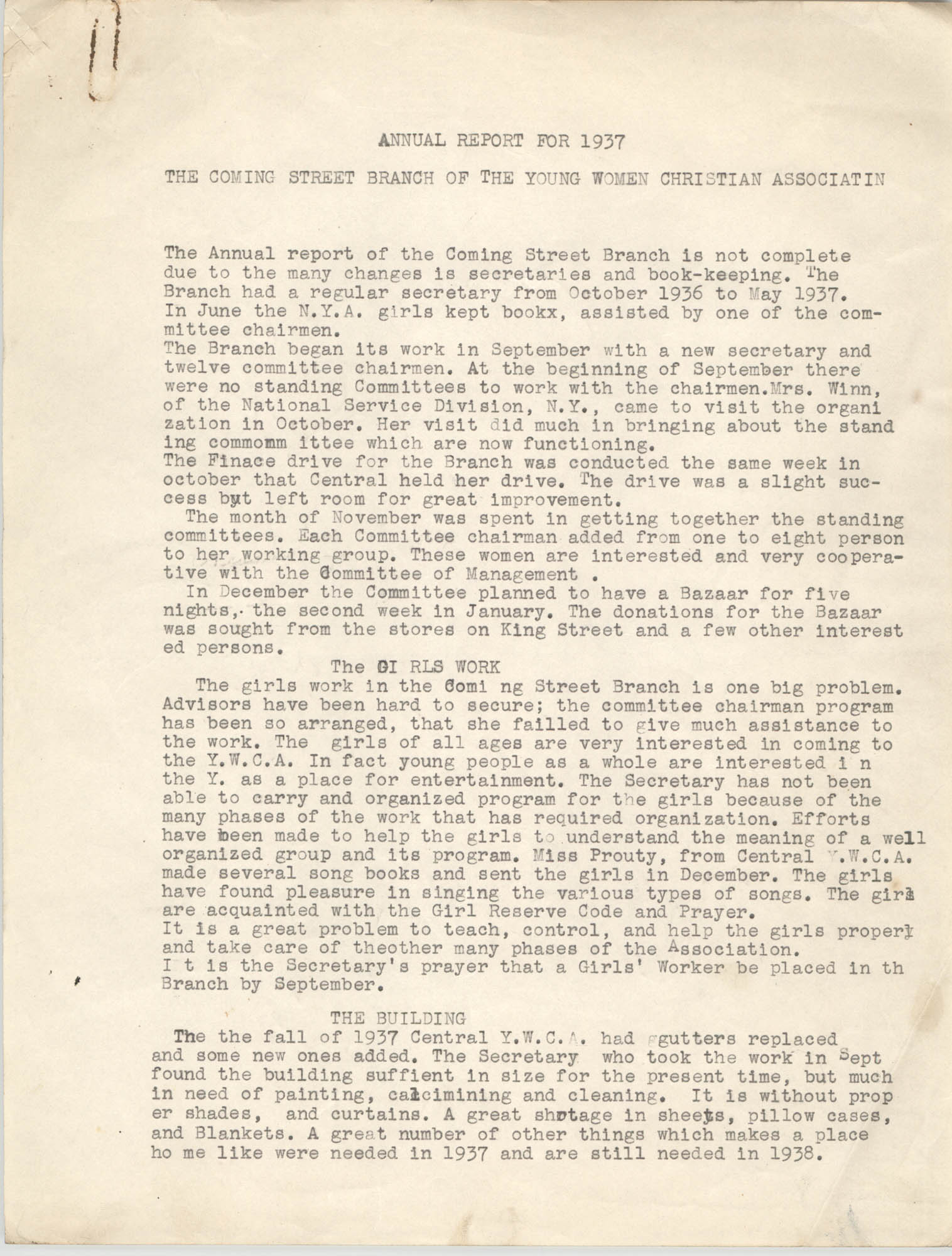 Coming Street Y.W.C.A. Annual Report for 1937