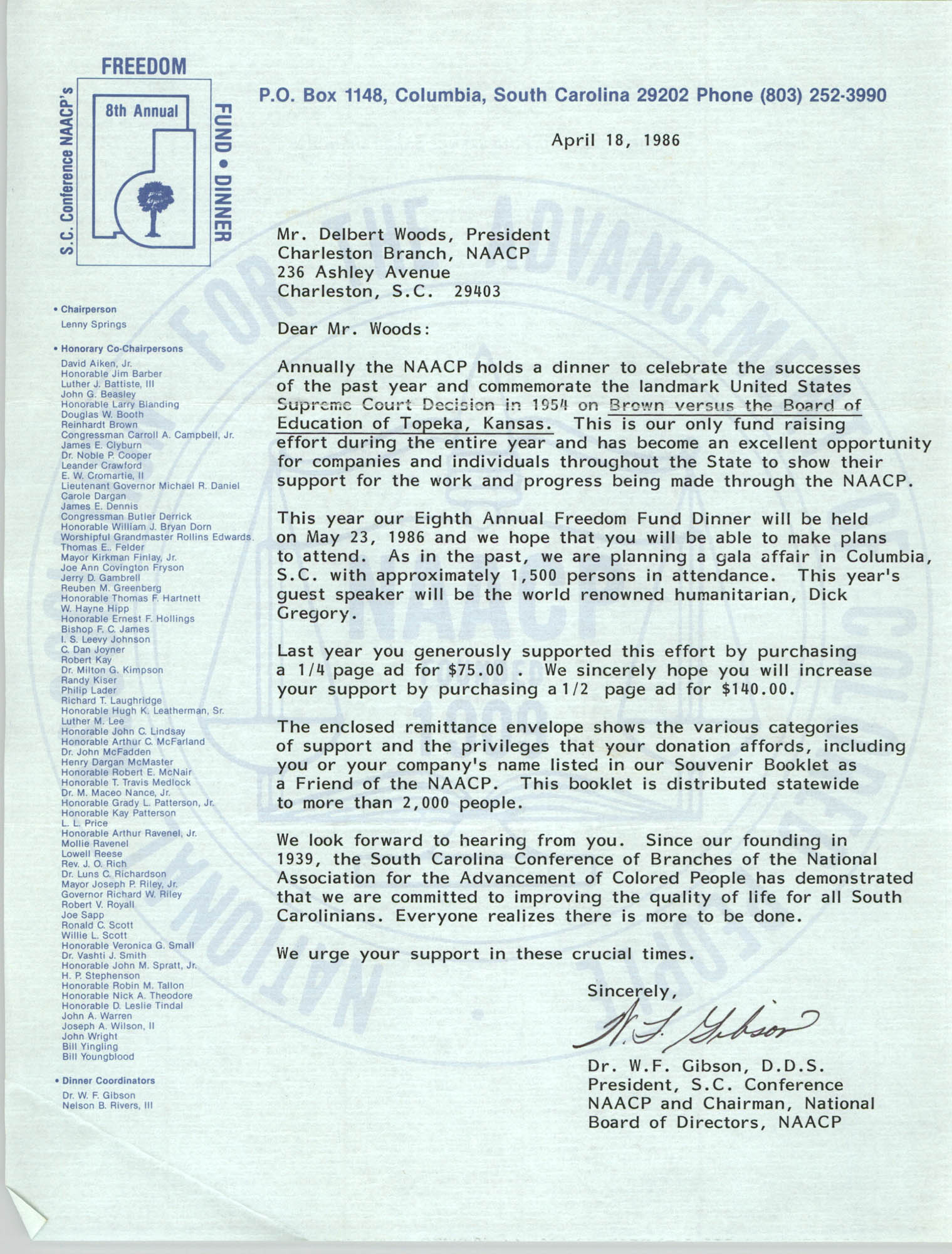 Letter from W.F. Gibson to Delbert Woods,  April 18, 1986