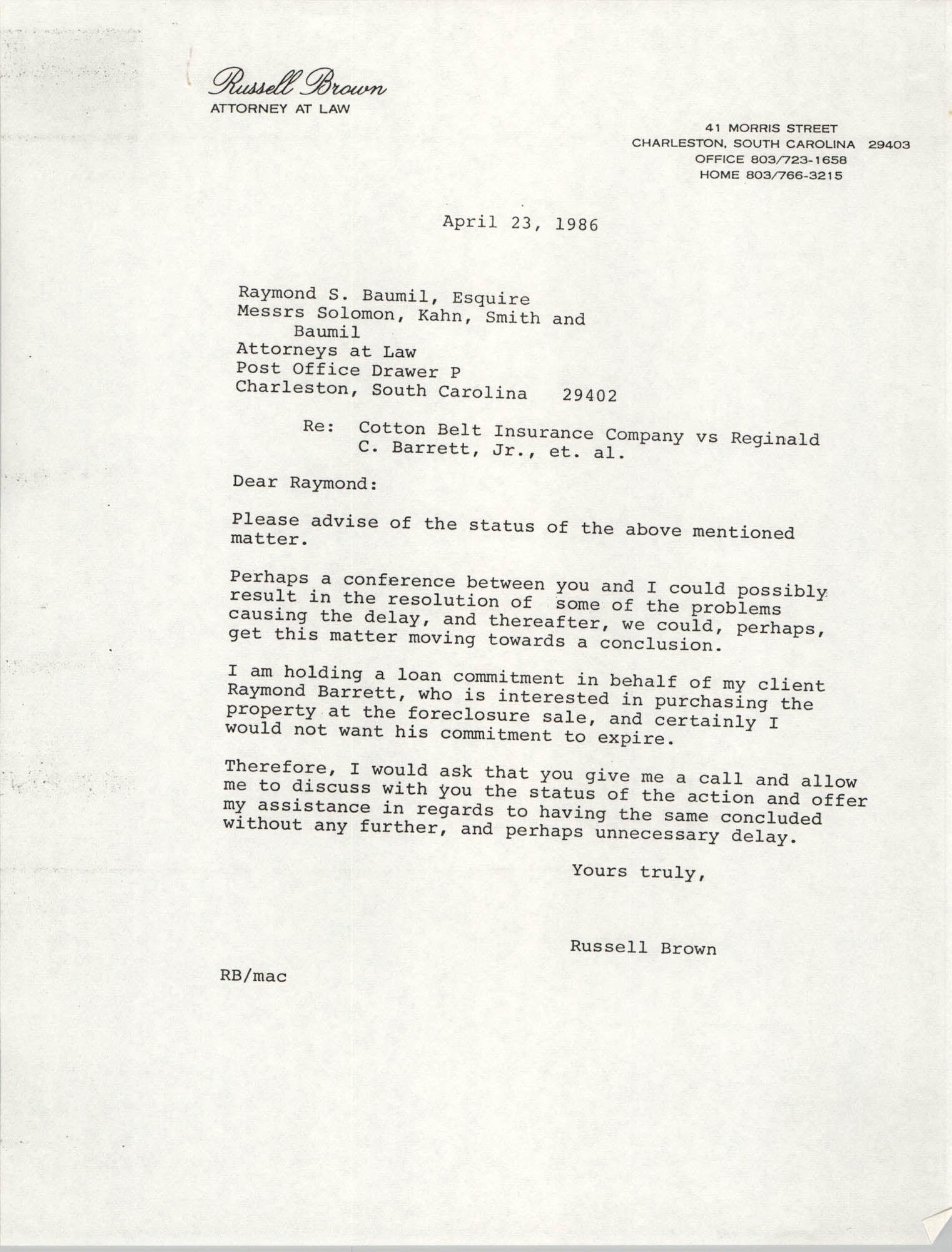 Letter from Russell Brown to Raymond S. Baumil, April 23, 1986