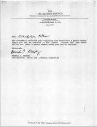 Letter from Brenda C. Murphy to Gwendolyn Mason