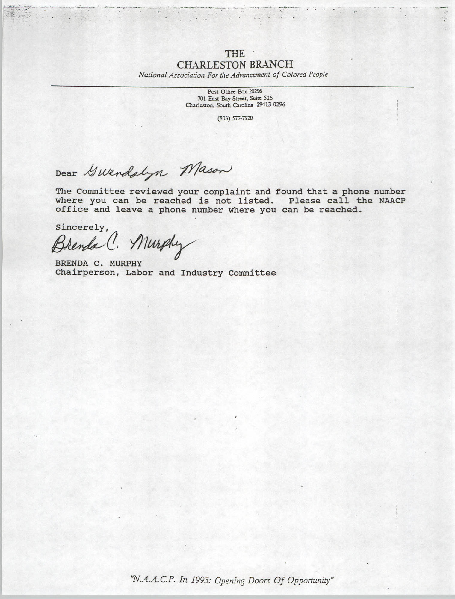 Letter from Brenda C. Murphy to Gwendolyn Mason