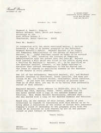 Letter from Russell Brown to Raymond S. Baumil, October 14, 1985