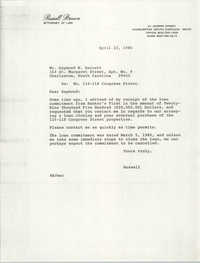 Letter from Russell Brown to Raymond W. Barrett, April 23, 1986