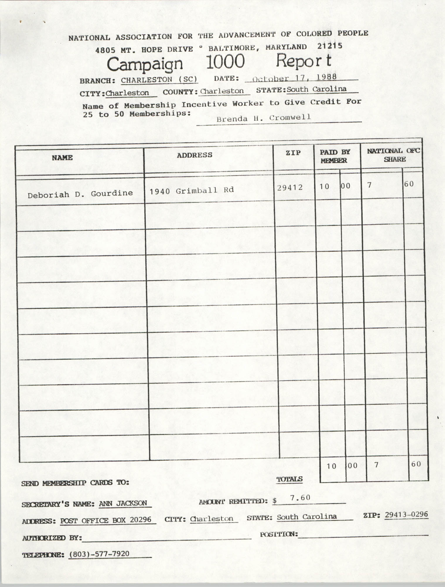 Campaign 1000 Report, Brenda H. Cromwell, Charleston Branch of the NAACP, October 17, 1988