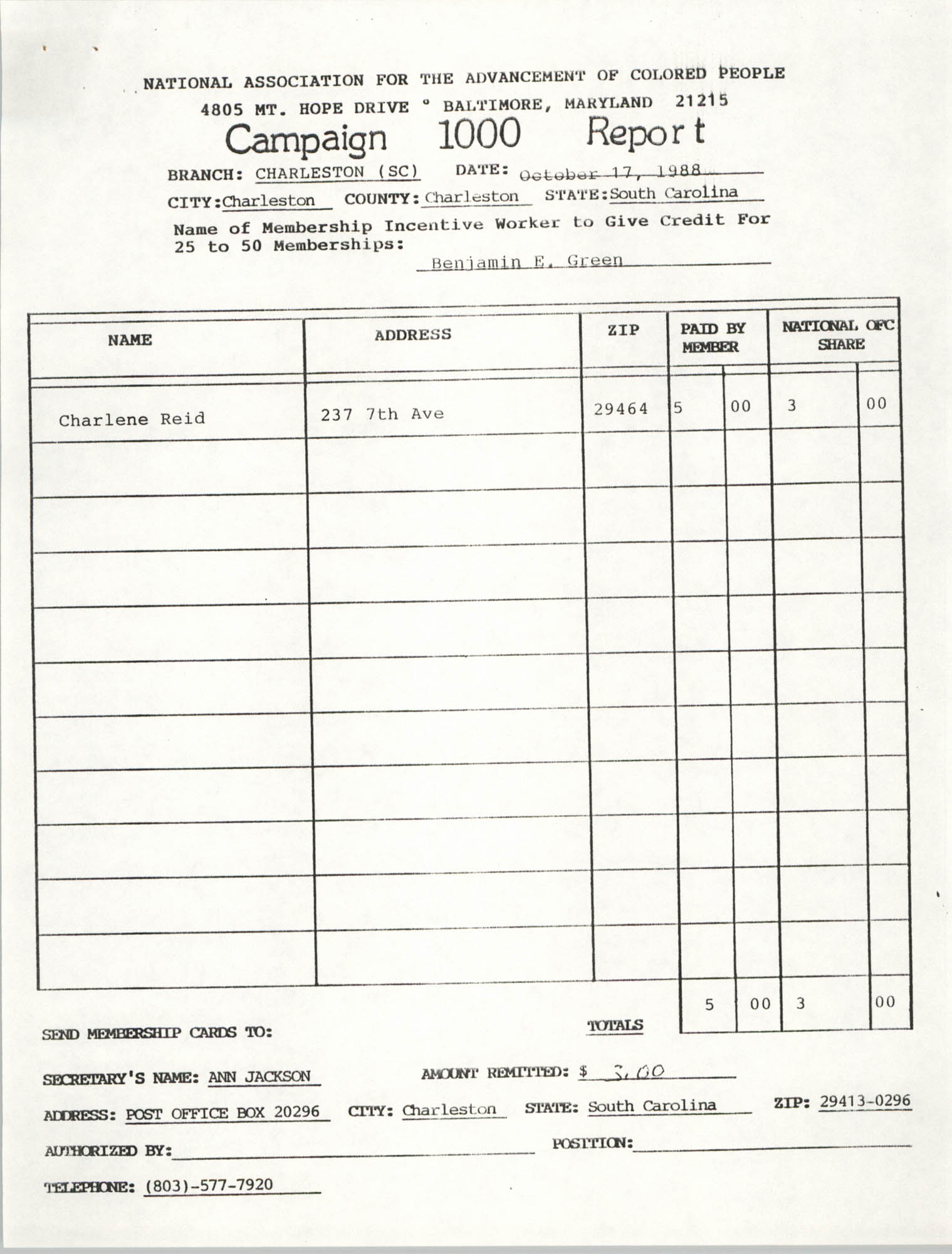 Campaign 1000 Report, Benjamin E. Green, Charleston Branch of the NAACP, October 17, 1988