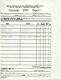 Campaign 1000 Report, Charleston Branch of the NAACP, August 15, 1987