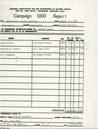 Campaign 1000 Report, Charleston Branch of the NAACP, August 10, 1987