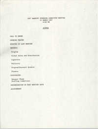 Agenda, 1987 Banquet Steering Committee Meeting, March 24, 1987