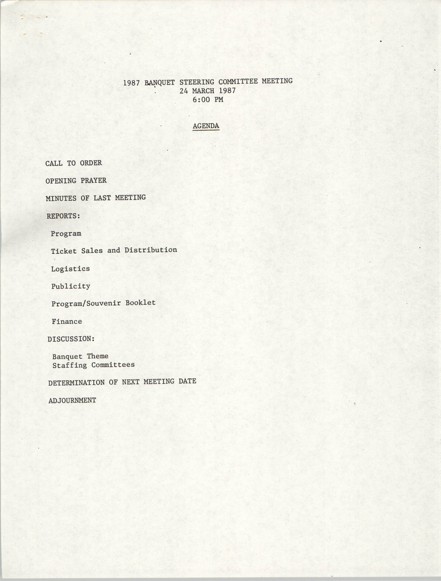 Agenda, 1987 Banquet Steering Committee Meeting, March 24, 1987