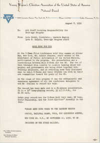 National Board of the Y.W.C.A. Memorandum, August 8, 1952