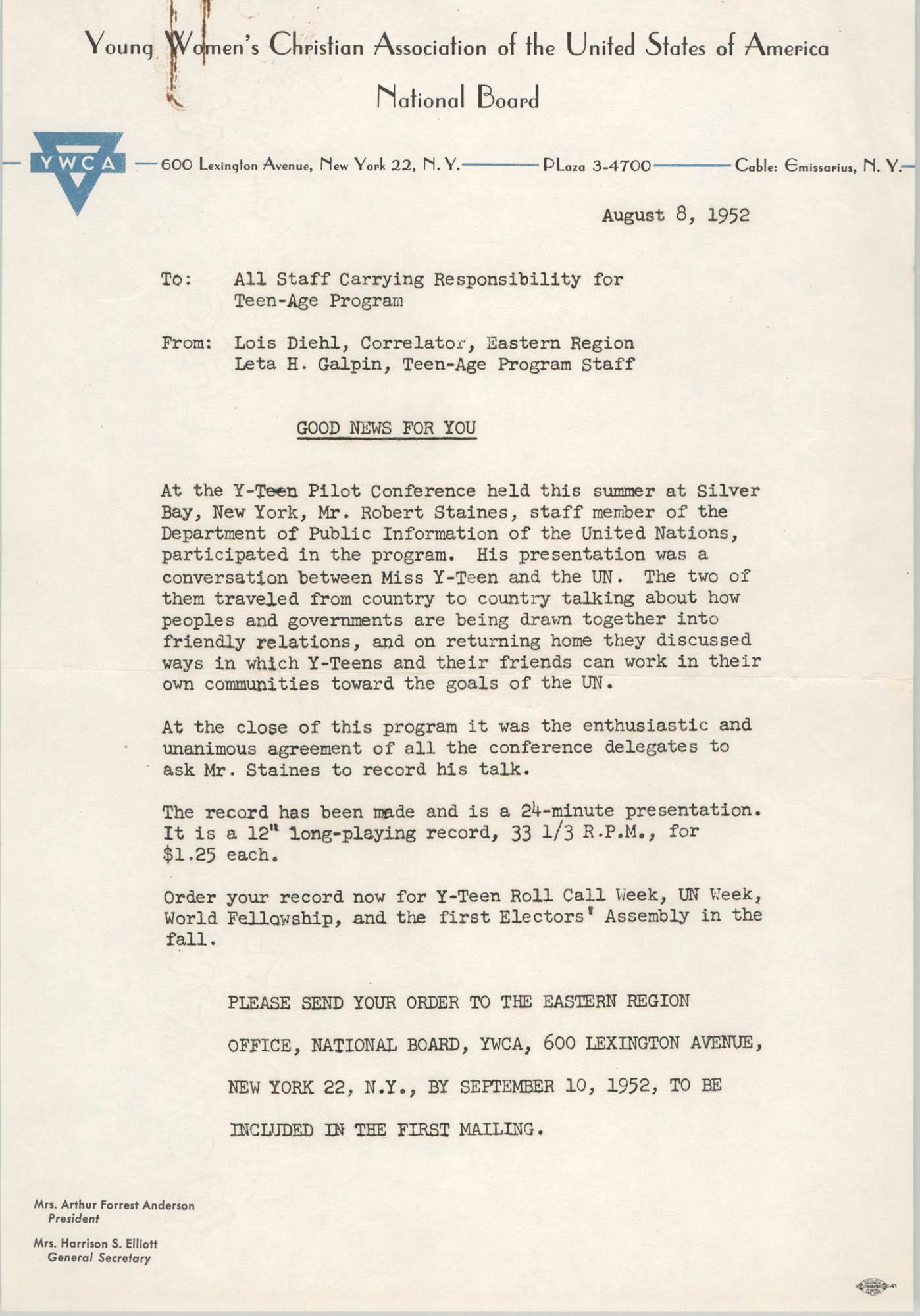 National Board of the Y.W.C.A. Memorandum, August 8, 1952