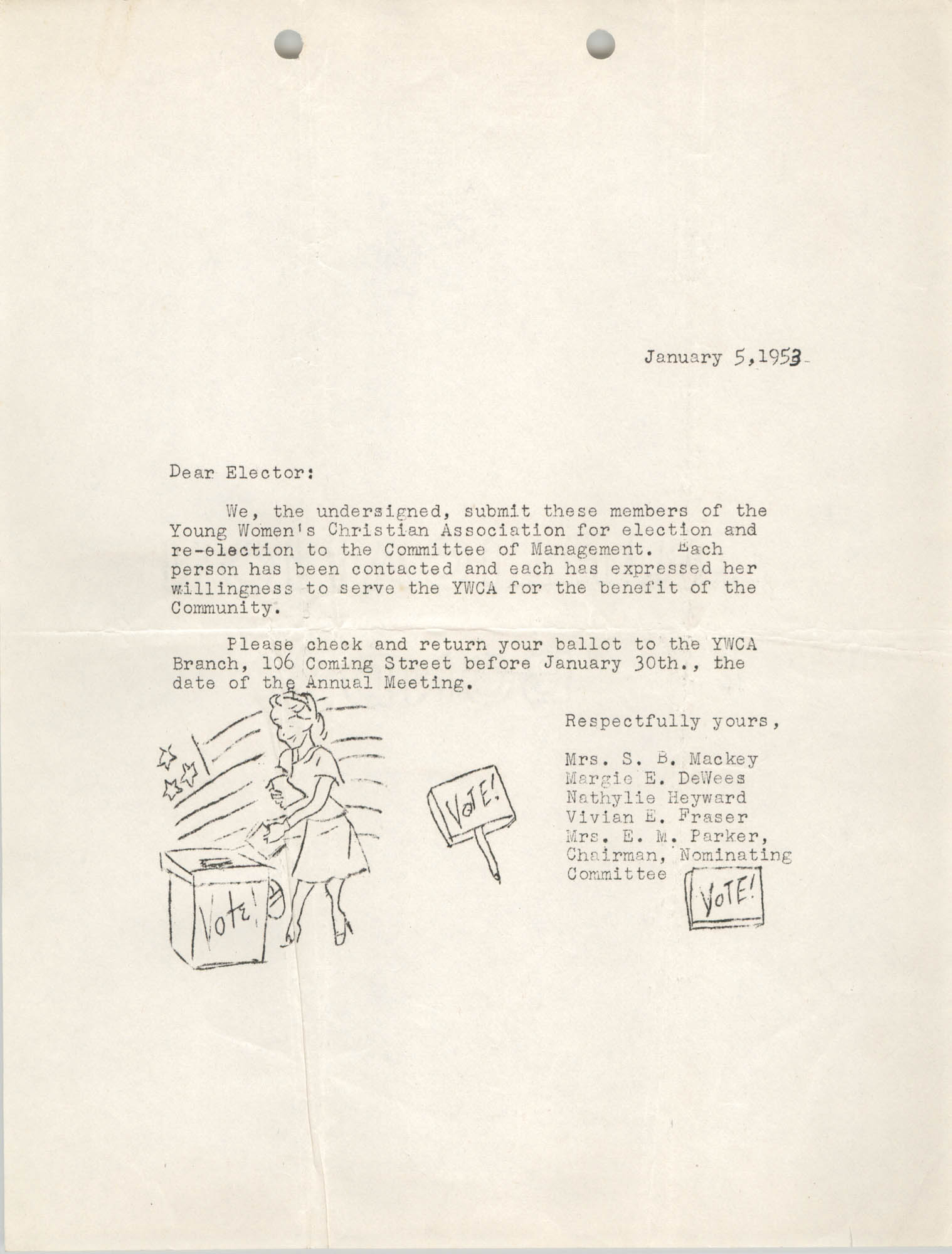 Letter from Y.W.C.A. Members to Electors, January 5, 1953