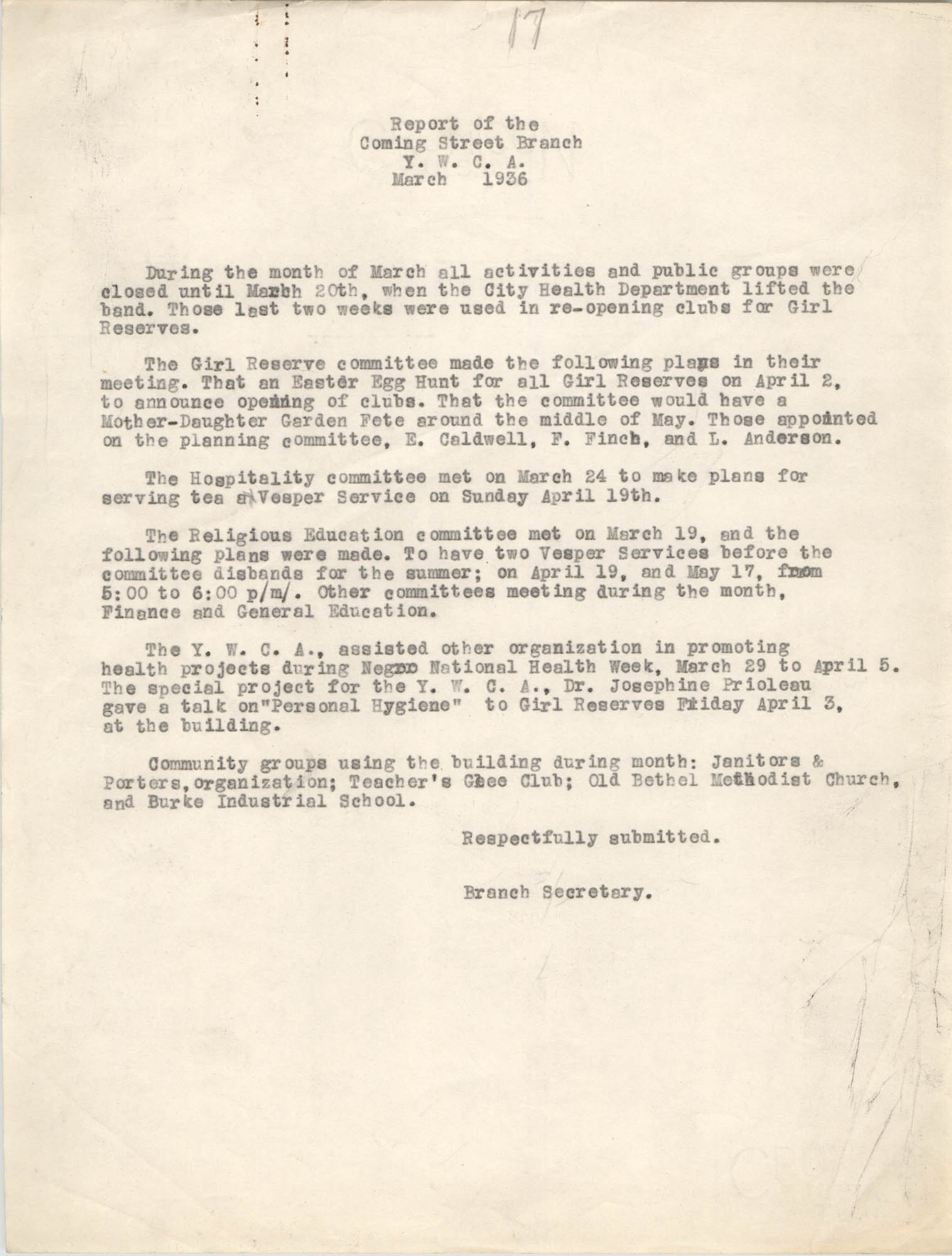 Monthly Report for the Coming Street Y.W.C.A., March 1936