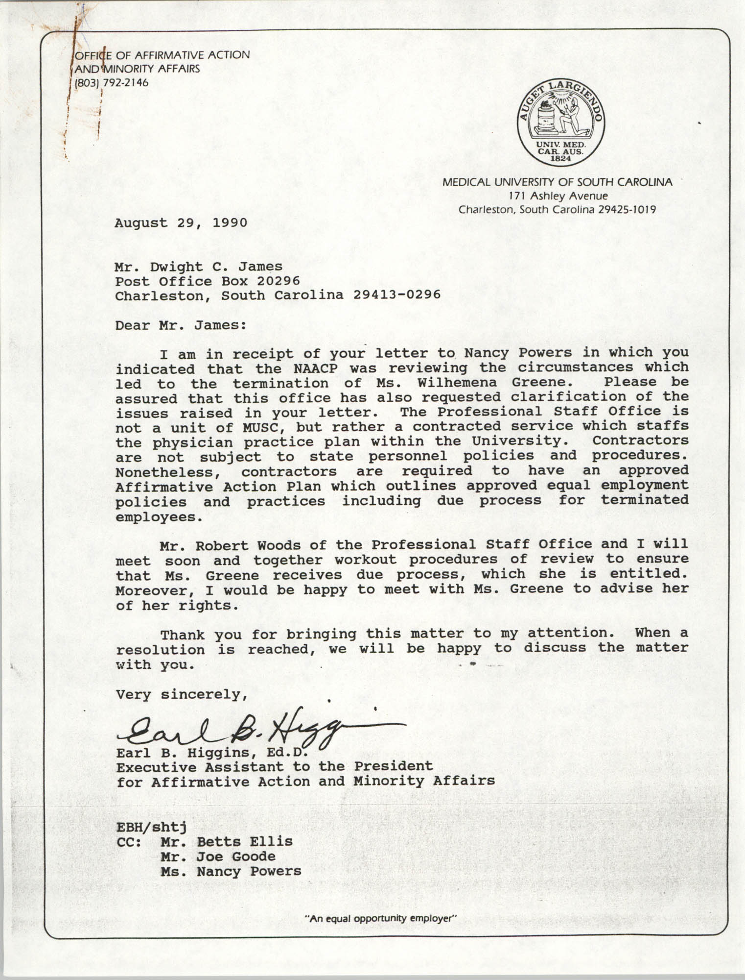 Letter from Earl B. Higgins to Dwight C. James, August 29, 1990