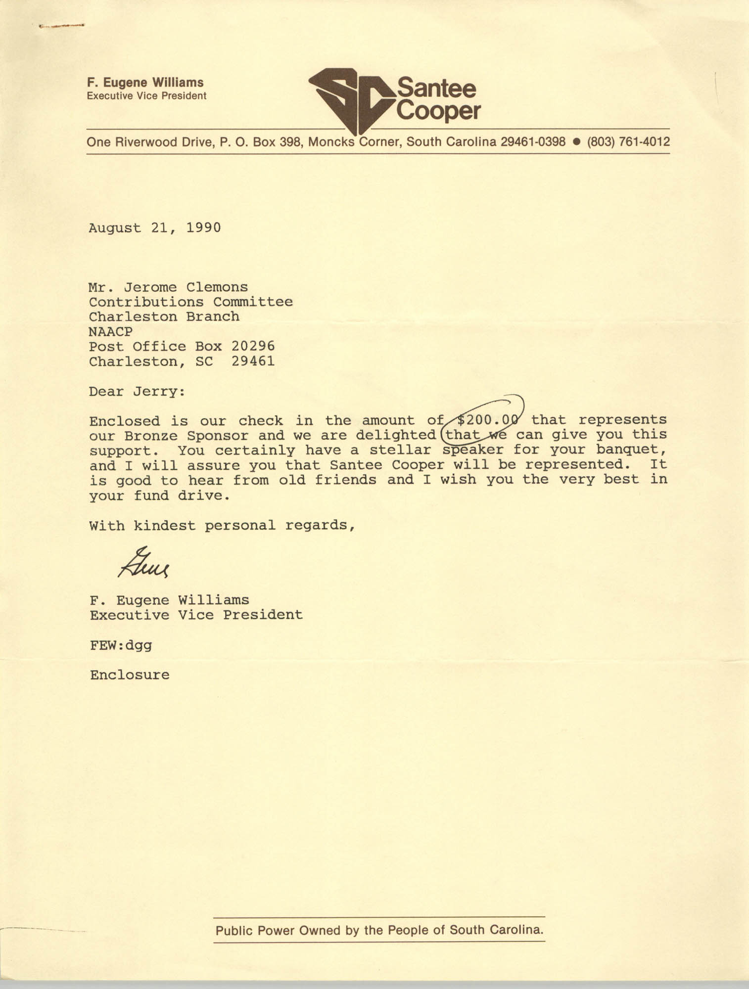Letter from F. Eugene Williams to Jerome Clemons, August 21, 1990