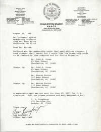 Letter from Ann Beaufort to Isazetta Spikes, August 23, 1991