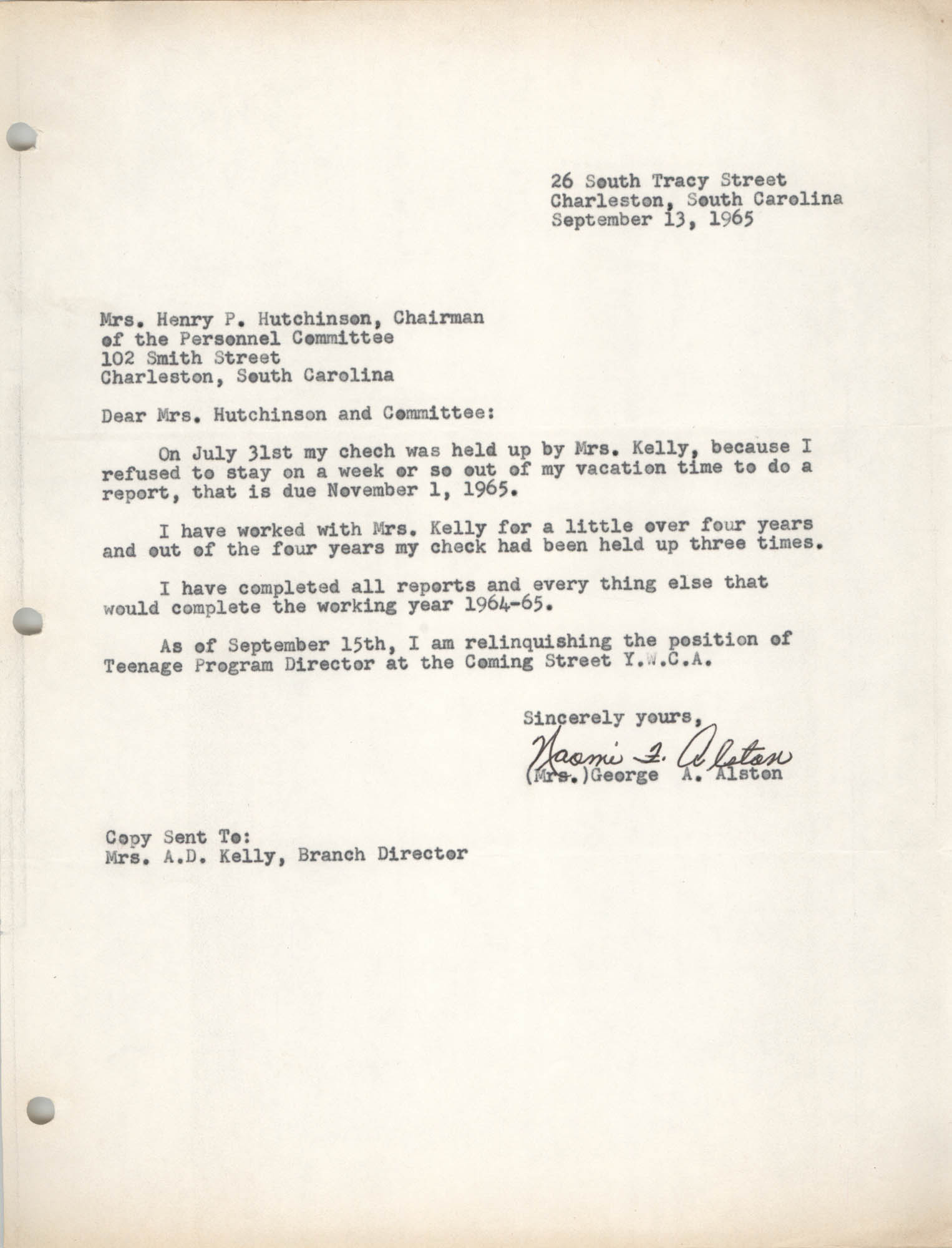 Letter from Naomi L. Alston to Mrs. Henry P. Hutchinson, September 13, 1965