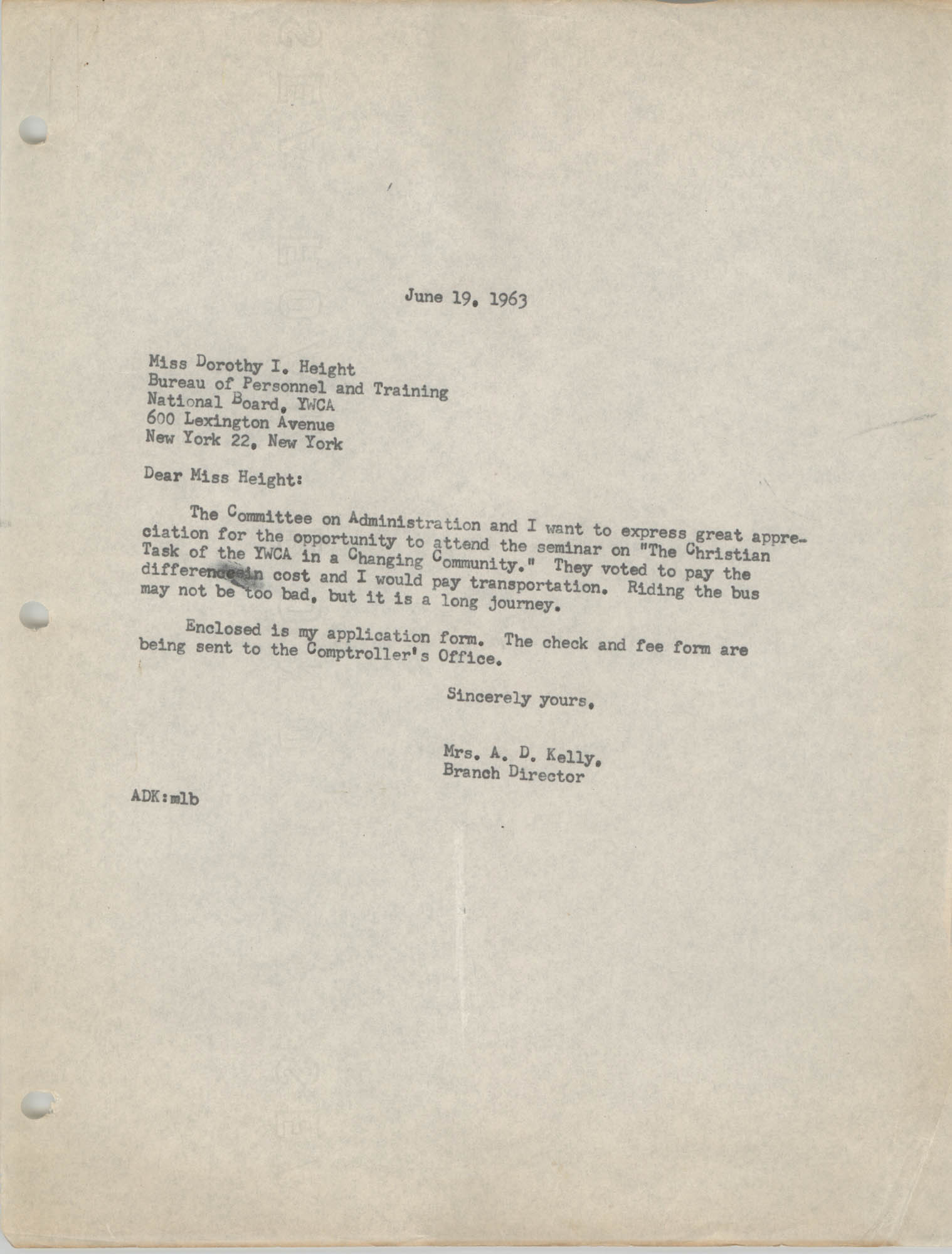 Letter from Anna D. Kelly to Dorothy I. Height, June 19, 1963