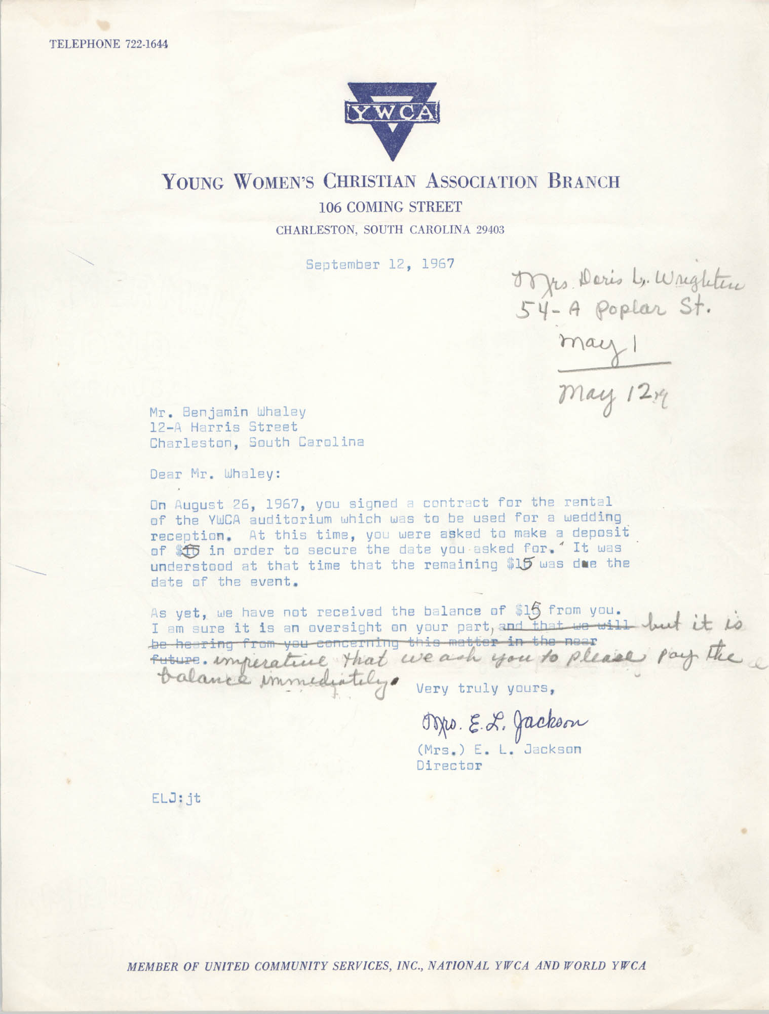 Letter from Christine O. Jackson to Benjamin Whaley, September 12, 1967