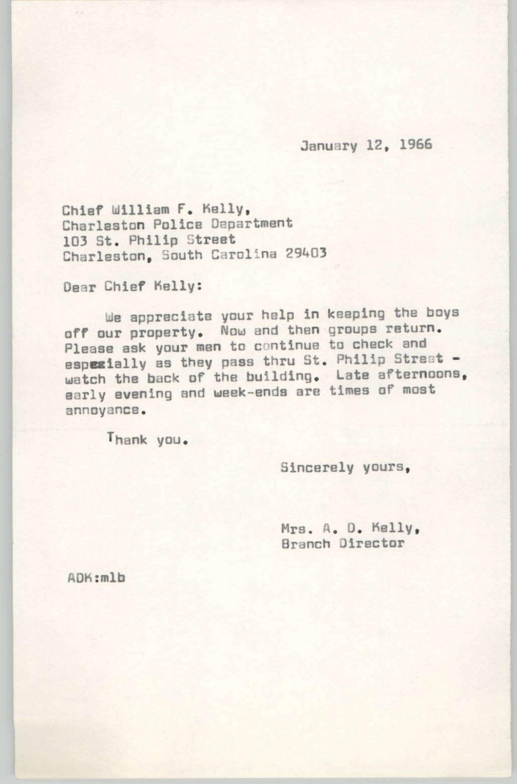 Letter from Anna D. Kelly to William F. Kelly, January 12, 1966