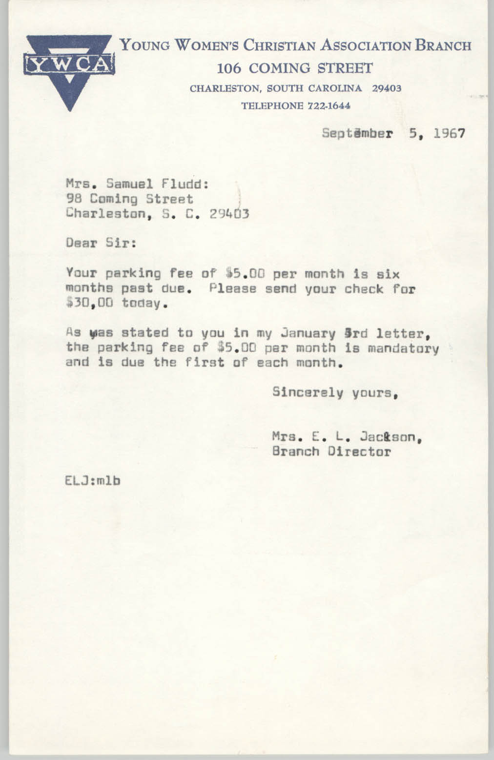 Letter from Christine O. Jackson to Samuel Fludd, September 5, 1967