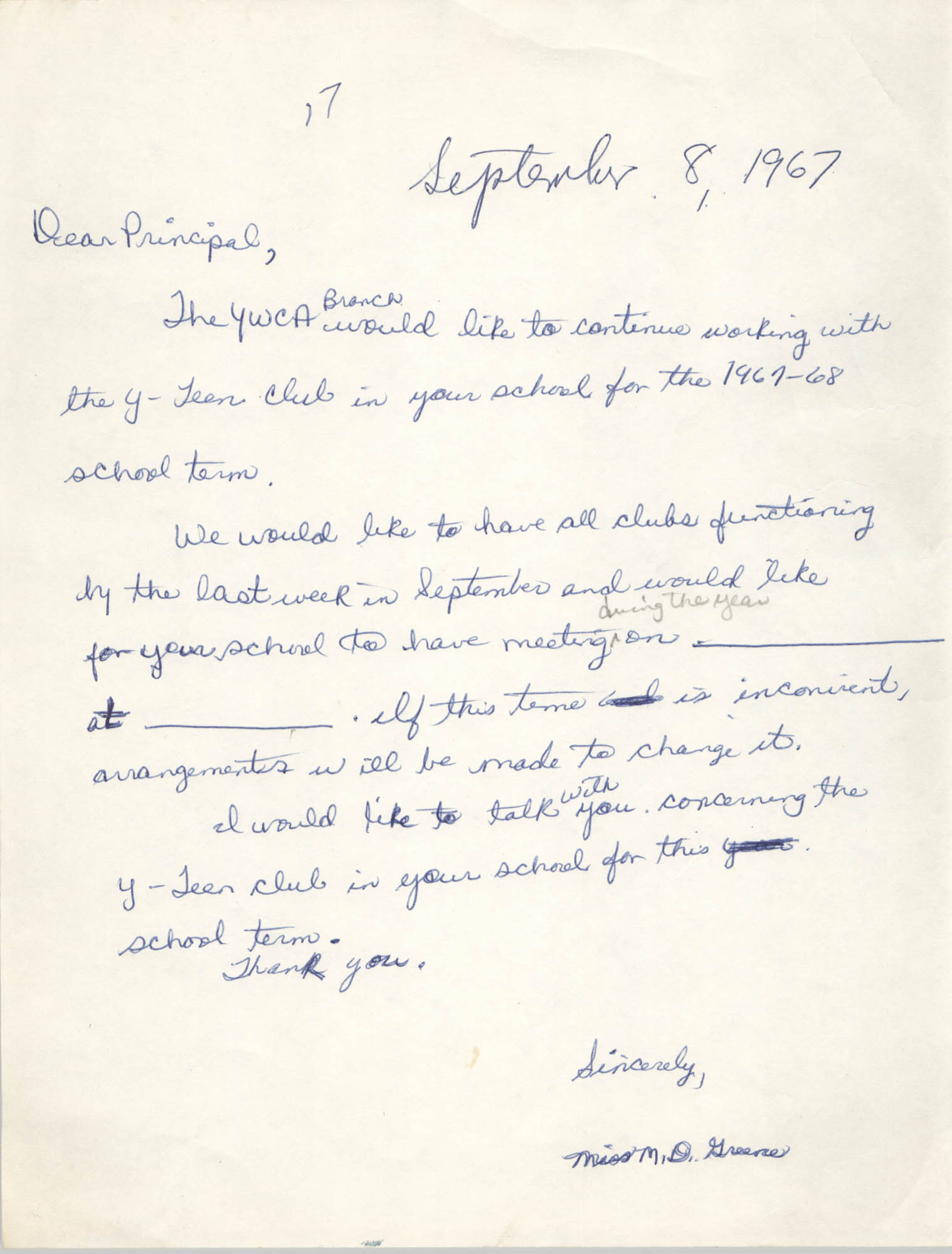 Letter from Marguerite D. Greene, September 8, 1967