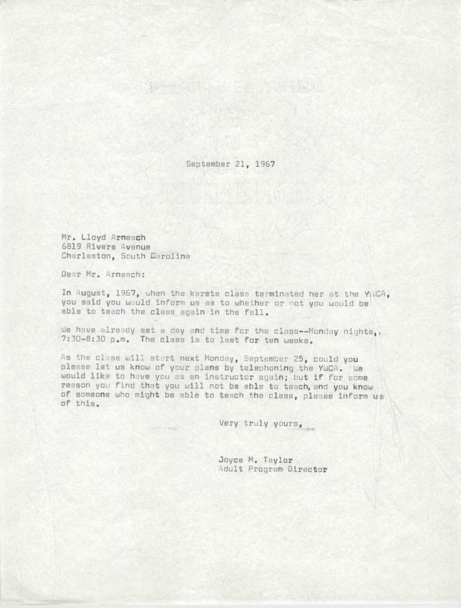 Letter from Joyce M. Taylor to Lloyd Arneach, September 21, 1967