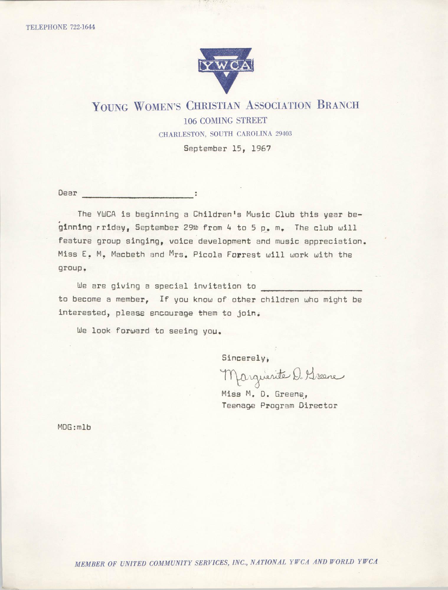 Letter from Marguerite D. Greene, September 8, 1967