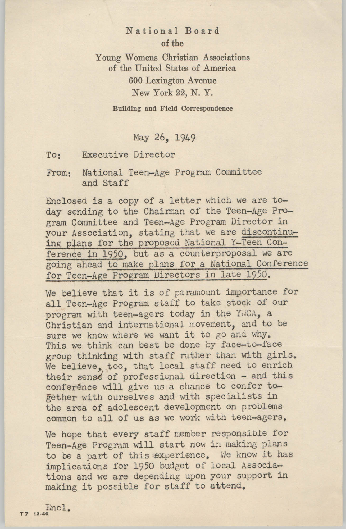 National Board of the Y.W.C.A. Memorandum, May 26, 1949