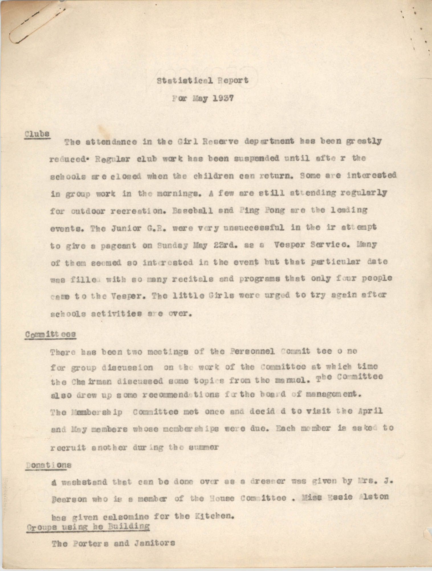 Statistical Report of the Coming Street Y.W.C.A., May 1937