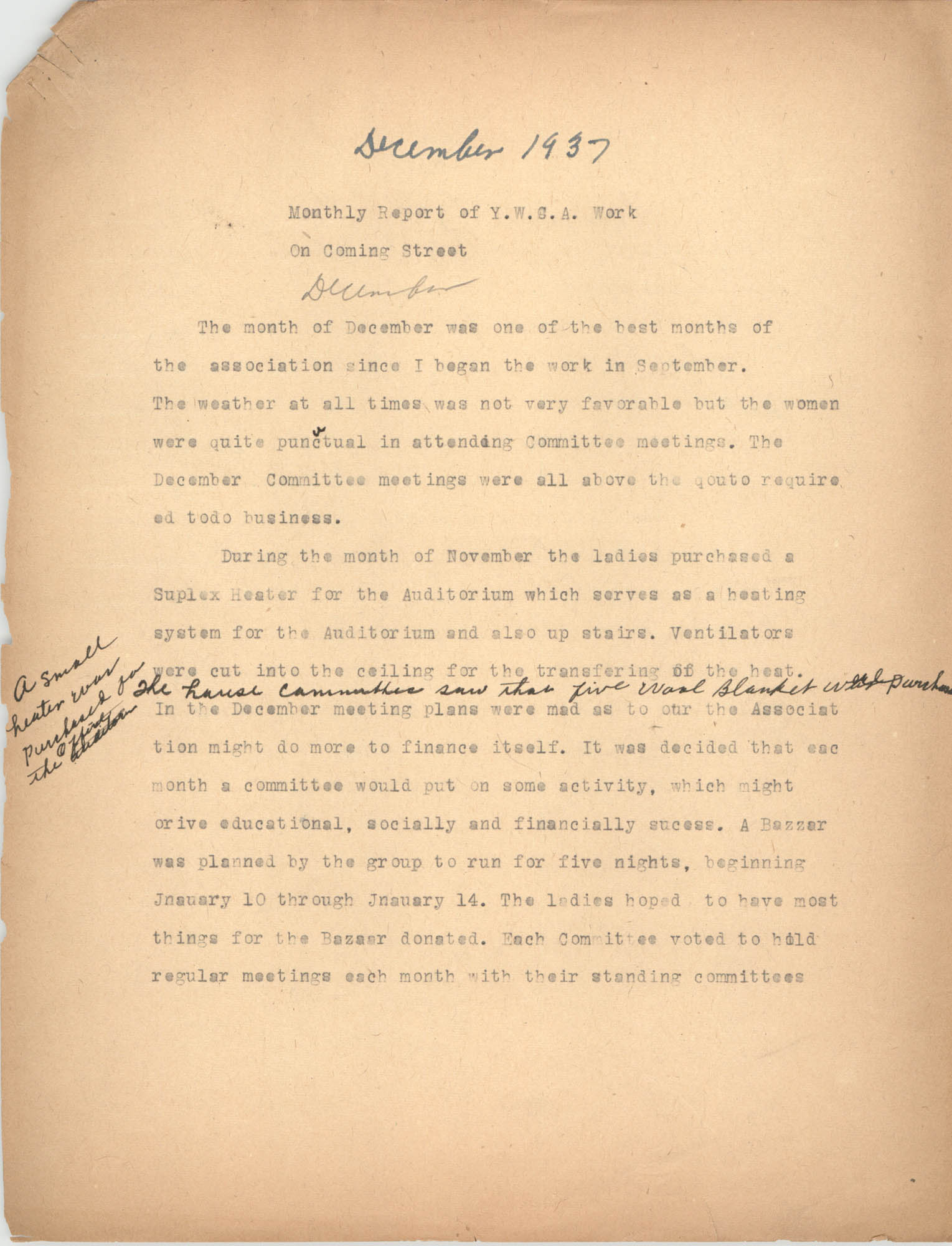 Monthly Report for the Coming Street Y.W.C.A., December 1937
