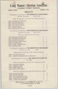 Coming Street Y.W.C.A. Ballot, 1950