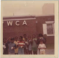 Photograph of Children Standing by Y.W.C.A. Building