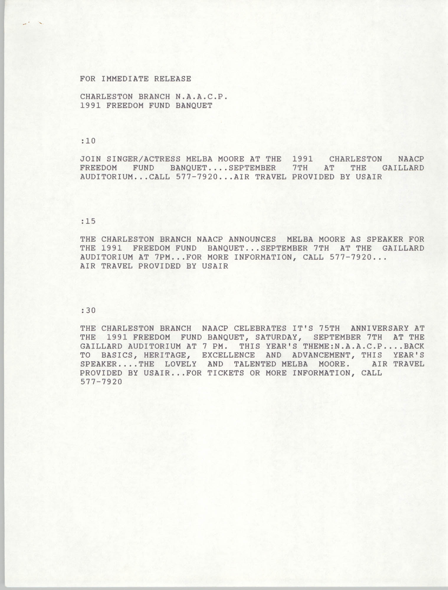 Press Release, 1991 Freedom Fund Banquet, National Association for the Advancement of Colored People
