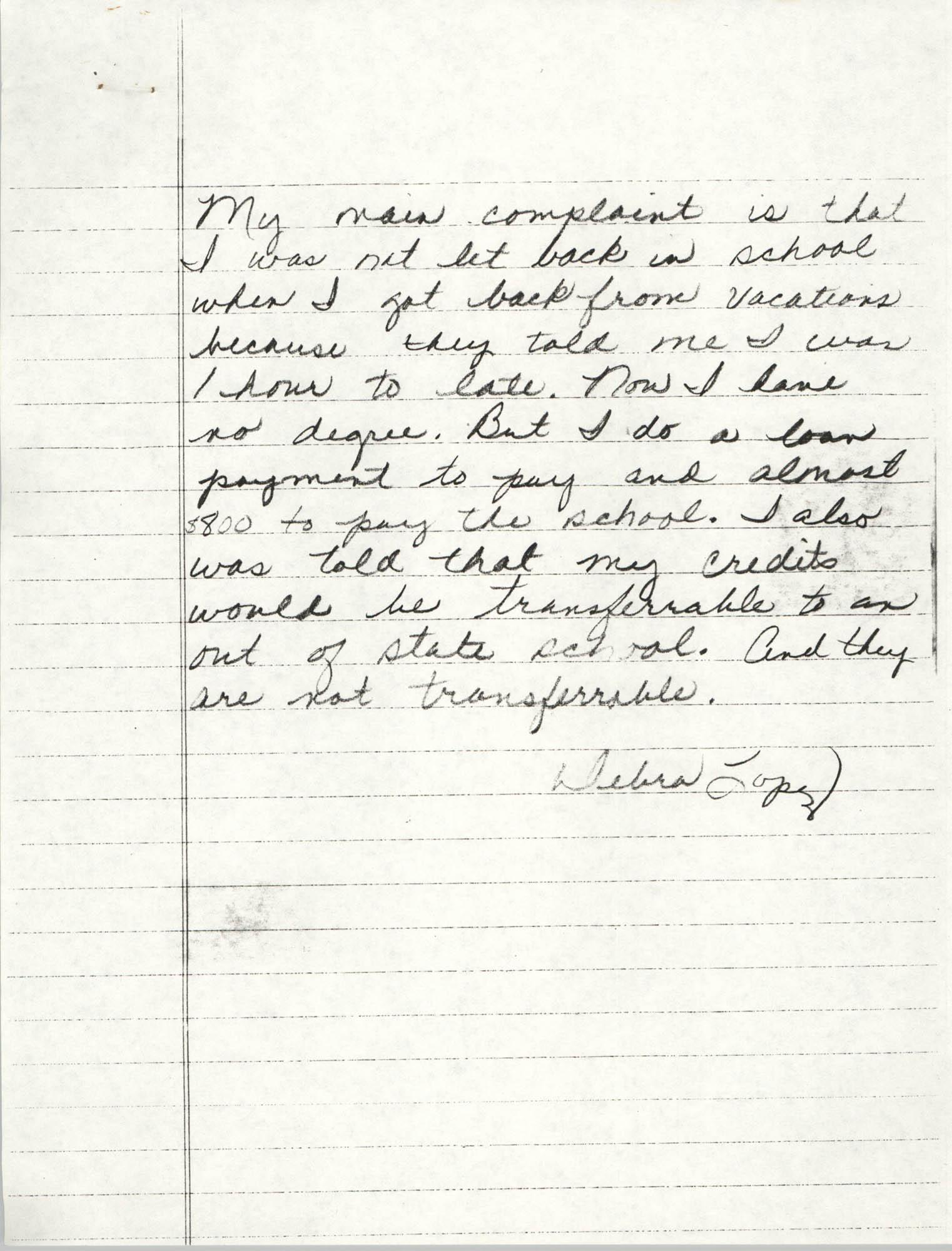 Handwritten letter by Debra Lopez