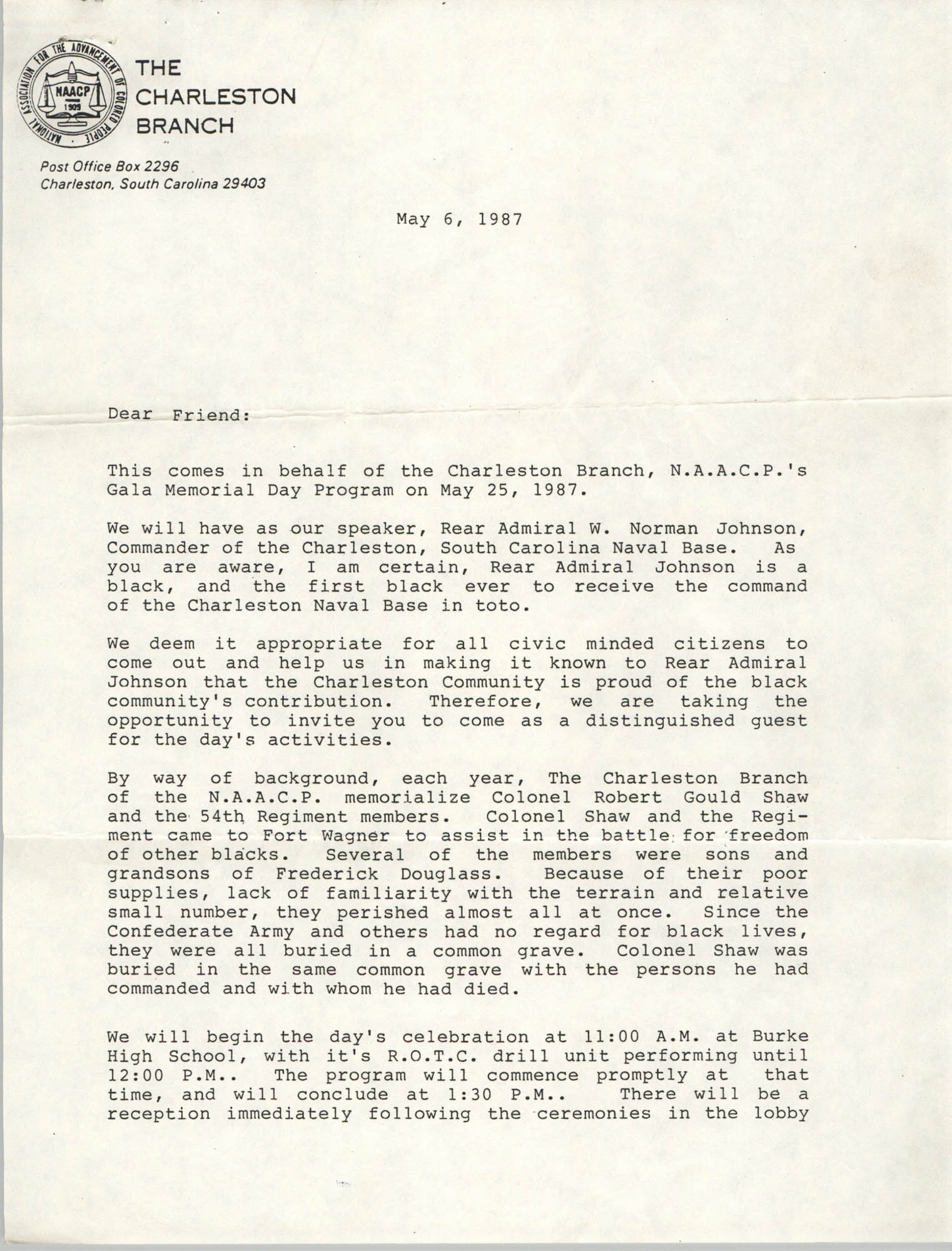 Response from Captain M.C. McKearn, Letter from William A. Glover to Friend, May 6, 1987
