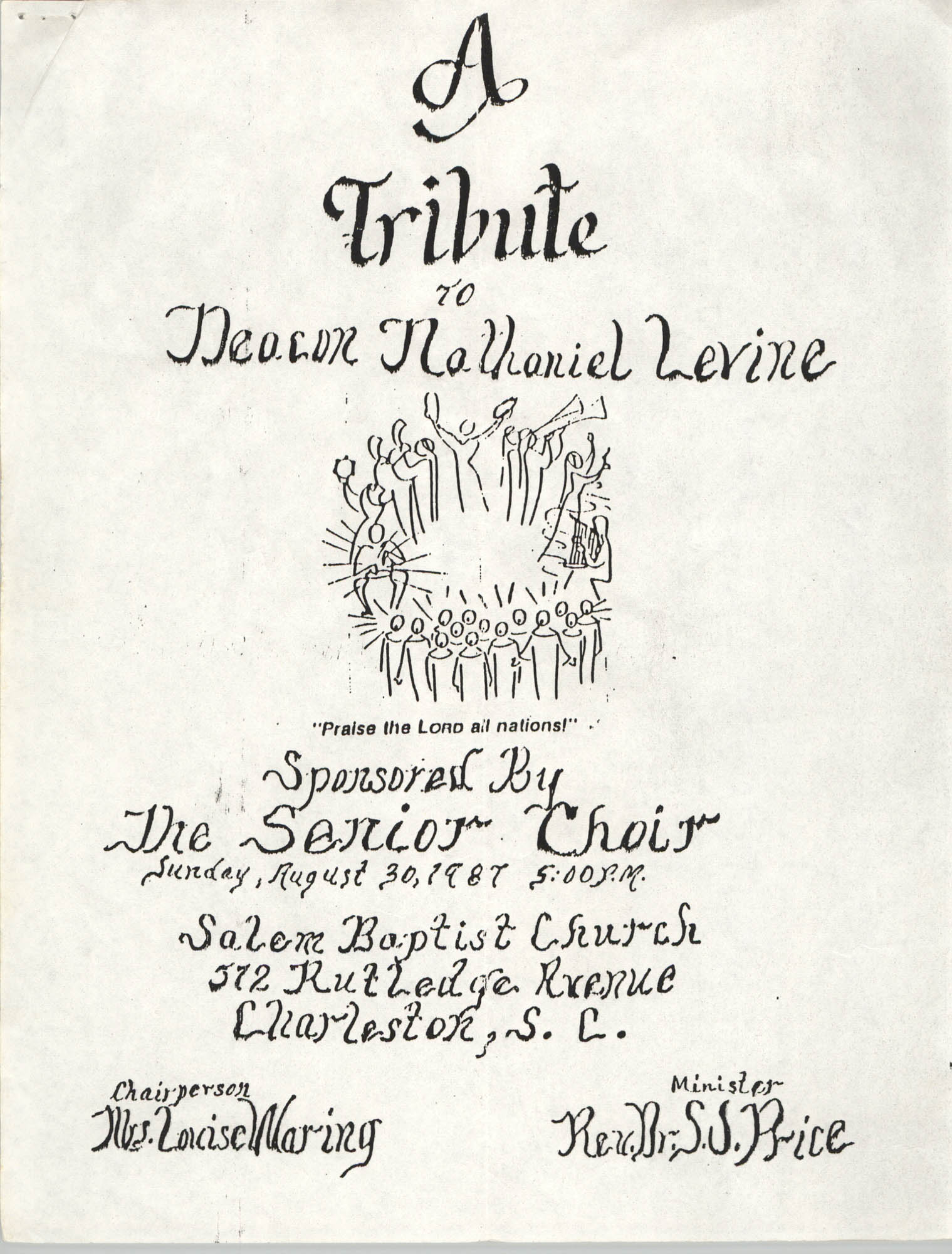 Program, A Tribute to Deacon Nathaniel Levine, Senior Choir, Salem Baptist Church, August 30, 1987