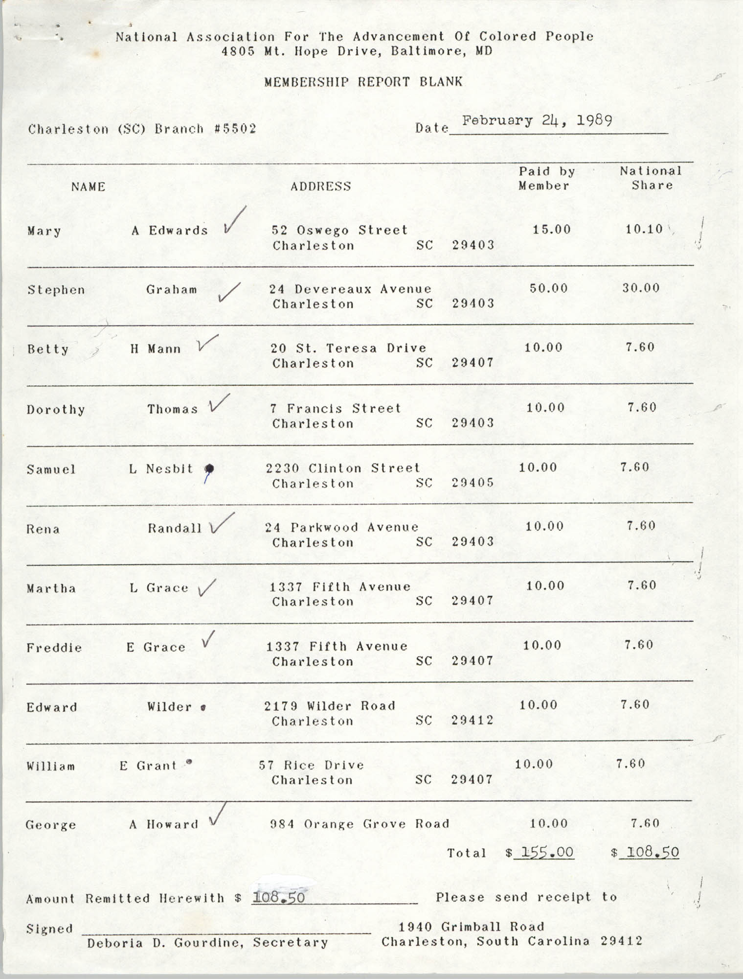 Membership Report Blank, Charleston Branch of the NAACP, Deboria D. Gourdine, February 24, 1989