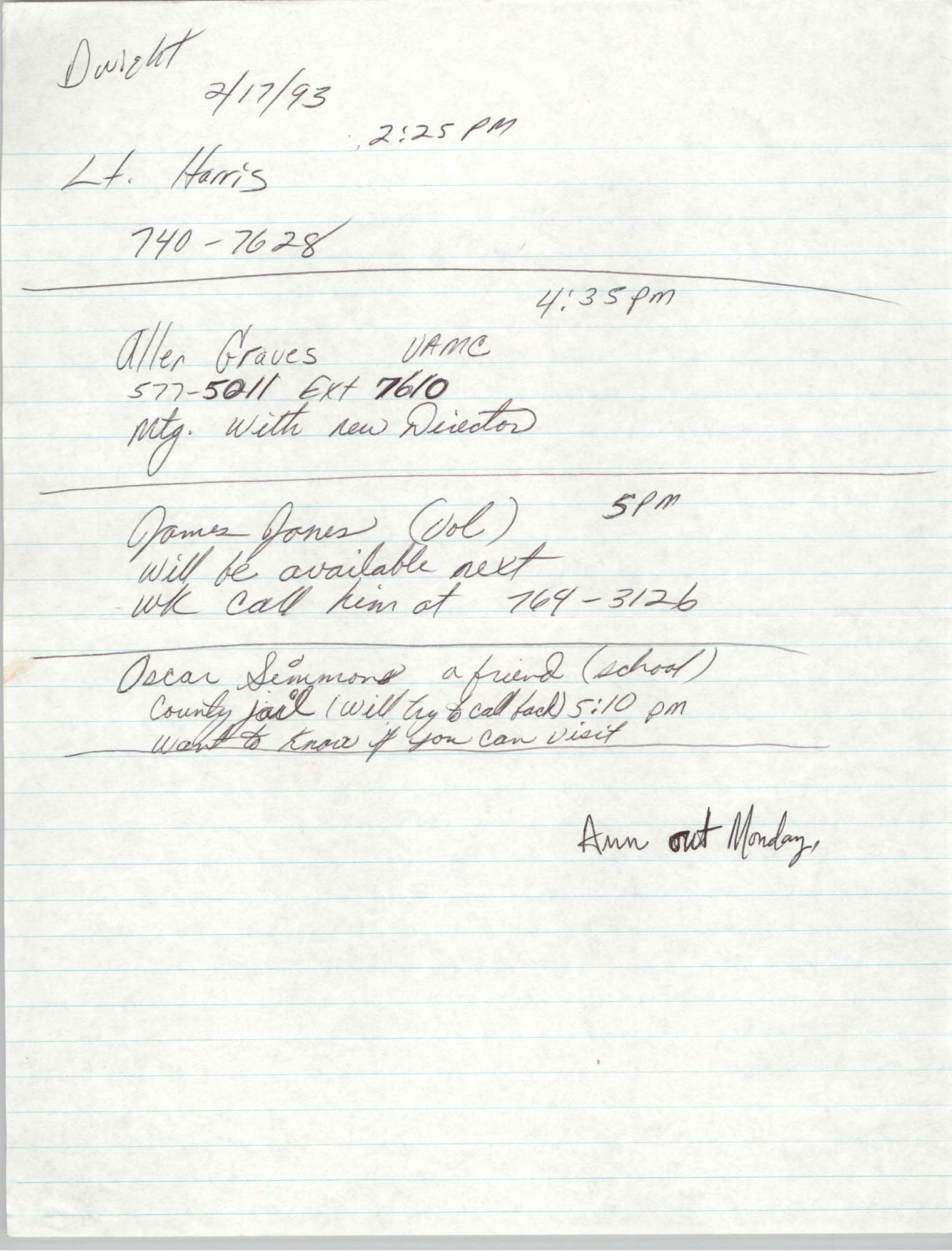 Handwritten Notes, Contact Information, February 17, 1993