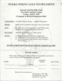 Entry Form, SCE&G Spring Golf Tournament, April 9, 1993