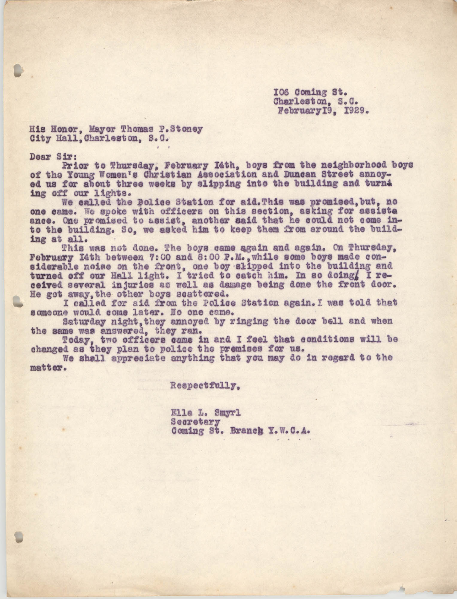 Letter from Ella L. Smyrl to Thomas Stoney, February 19, 1929