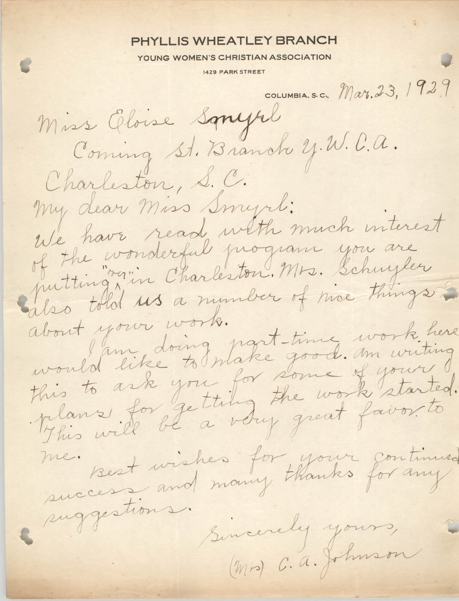 Letter from C. A. Johnson to Eloise Smyrl, March 23, 1929